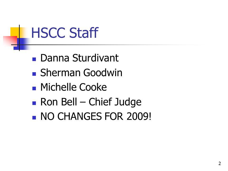 2 HSCC Staff Danna Sturdivant Sherman Goodwin Michelle Cooke Ron Bell – Chief Judge NO CHANGES FOR 2009!