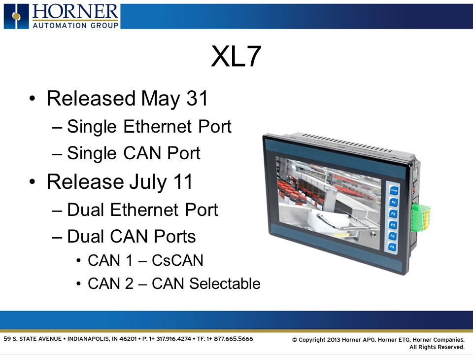 XL7 Released May 31 –Single Ethernet Port –Single CAN Port Release July 11 –Dual Ethernet Port –Dual CAN Ports CAN 1 – CsCAN CAN 2 – CAN Selectable