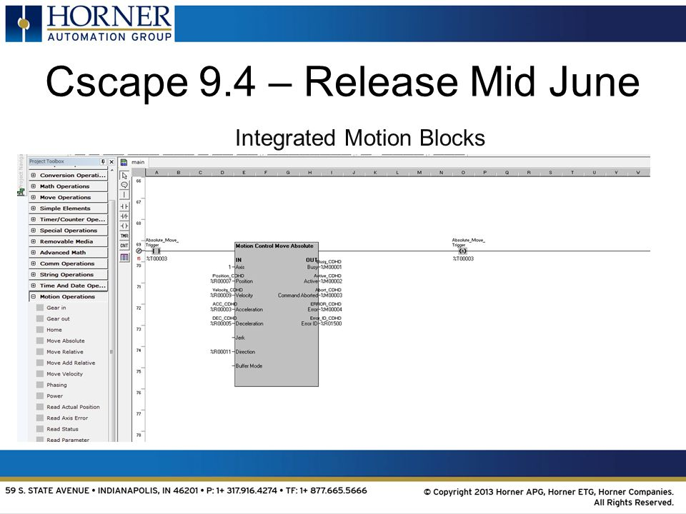 Cscape 9.4 – Release Mid June Integrated Motion Blocks
