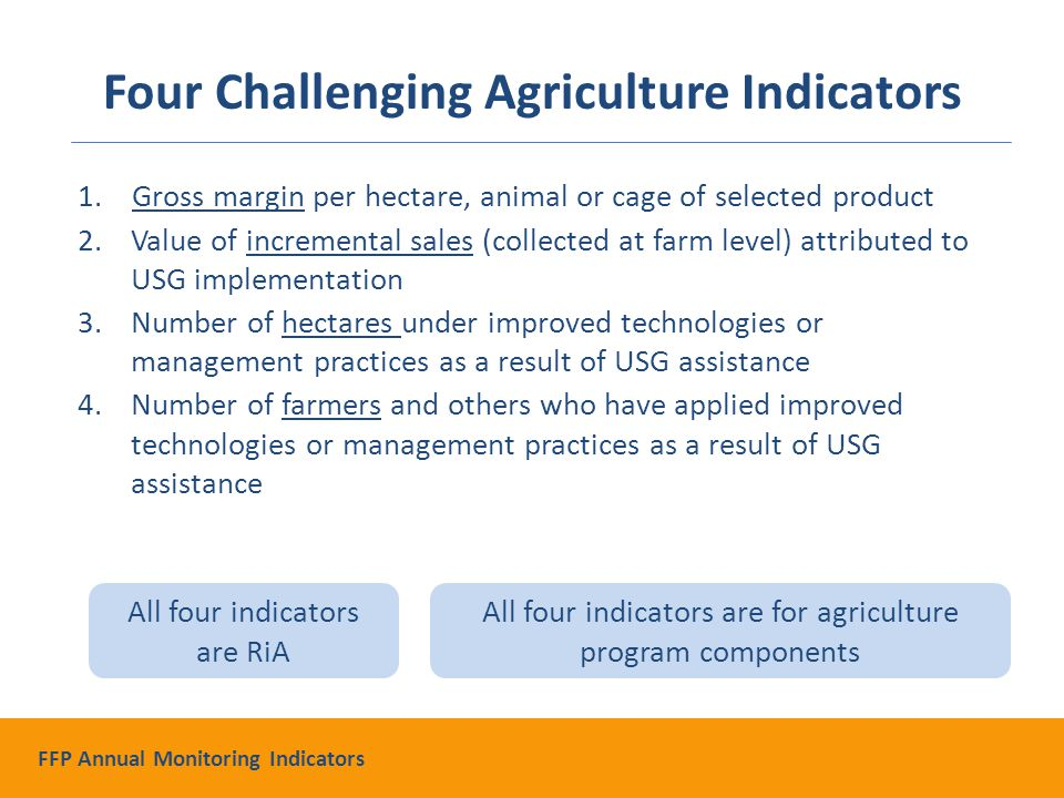 1.Gross margin per hectare, animal or cage of selected product 2.Value of incremental sales (collected at farm level) attributed to USG implementation 3.Number of hectares under improved technologies or management practices as a result of USG assistance 4.Number of farmers and others who have applied improved technologies or management practices as a result of USG assistance All four indicators are RiA All four indicators are for agriculture program components Four Challenging Agriculture Indicators FFP Annual Monitoring Indicators