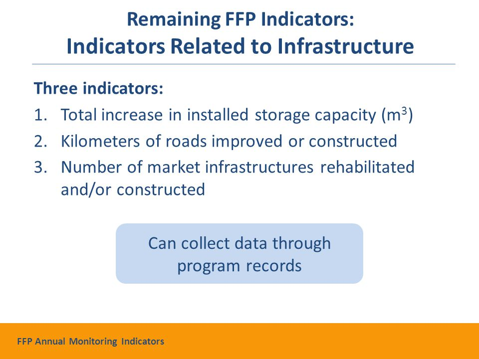 Three indicators: 1.Total increase in installed storage capacity (m 3 ) 2.Kilometers of roads improved or constructed 3.Number of market infrastructures rehabilitated and/or constructed Can collect data through program records Remaining FFP Indicators: Indicators Related to Infrastructure FFP Annual Monitoring Indicators