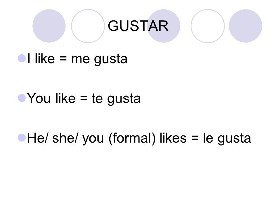 GUSTAR Write the following in Spanish: I like to swim.