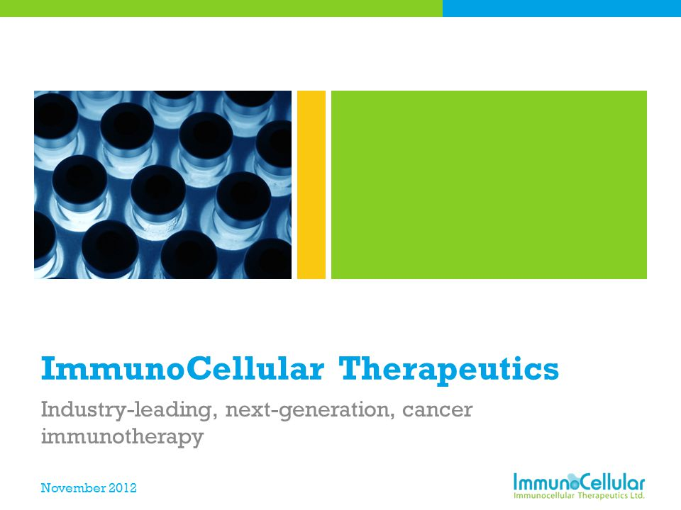 November 2012 ImmunoCellular Therapeutics Industry-leading, next-generation, cancer immunotherapy