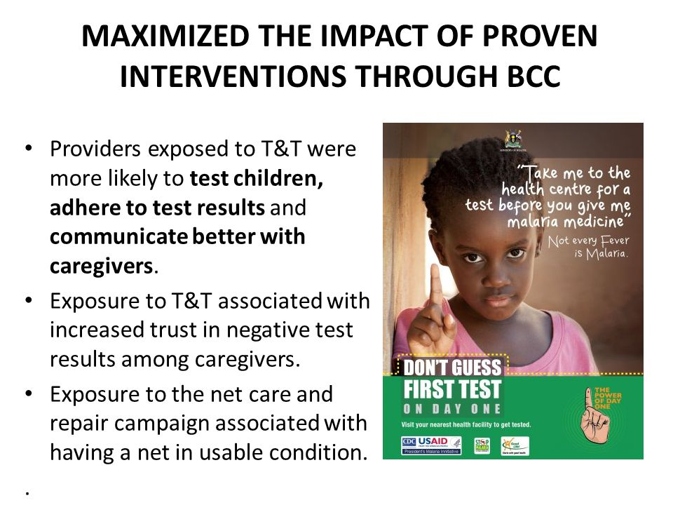 MAXIMIZED THE IMPACT OF PROVEN INTERVENTIONS THROUGH BCC Providers exposed to T&T were more likely to test children, adhere to test results and commun
