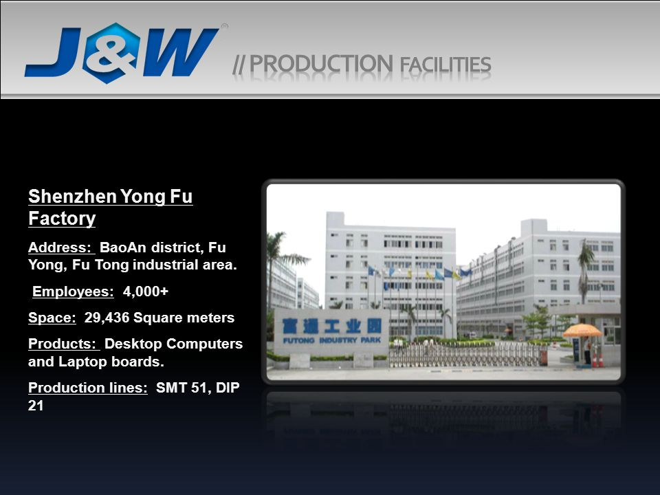 Shenzhen Yong Fu Factory Address: BaoAn district, Fu Yong, Fu Tong industrial area.