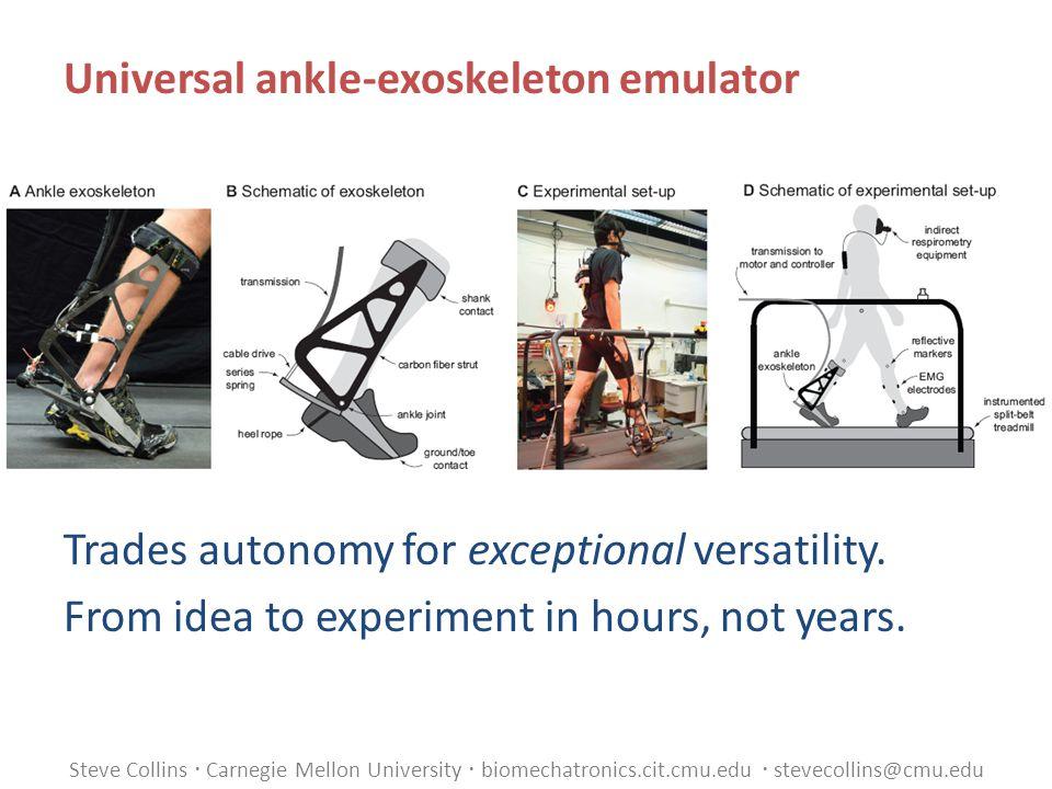 Steve Collins  Carnegie Mellon University  biomechatronics.cit.cmu.edu  stevecollins@cmu.edu Universal ankle-exoskeleton emulator Trades autonomy for exceptional versatility.