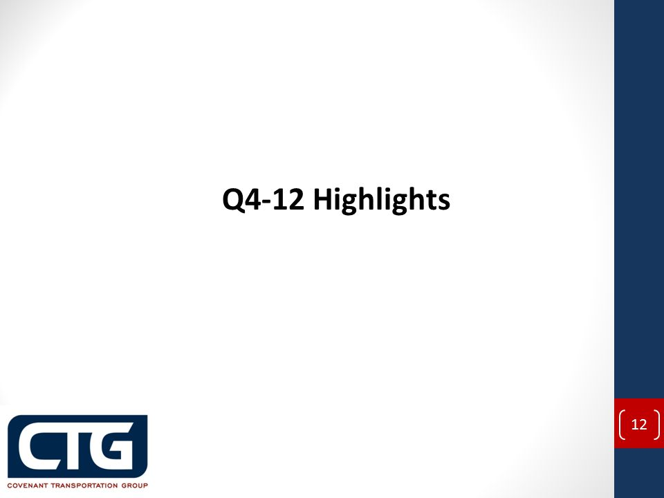 Q4-12 Highlights 12