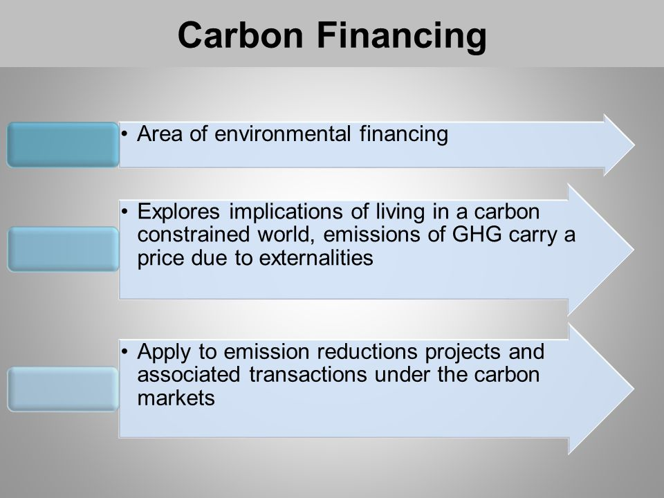 Carbon Financing Area of environmental financing Explores implications of living in a carbon constrained world, emissions of GHG carry a price due to externalities Apply to emission reductions projects and associated transactions under the carbon markets
