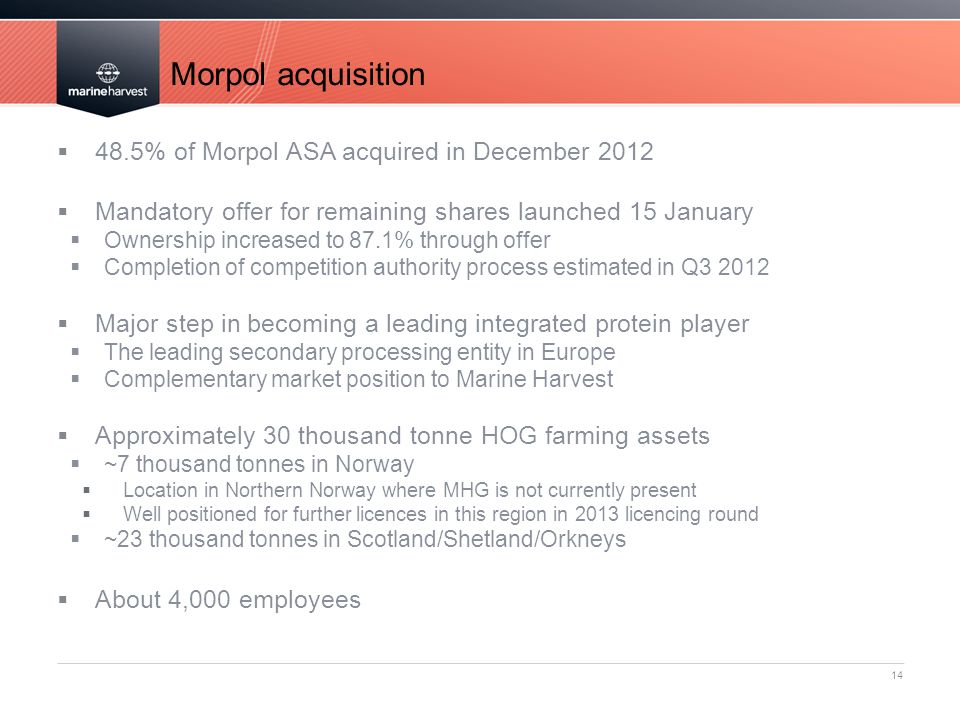 Morpol acquisition 14  48.5% of Morpol ASA acquired in December 2012  Mandatory offer for remaining shares launched 15 January  Ownership increased