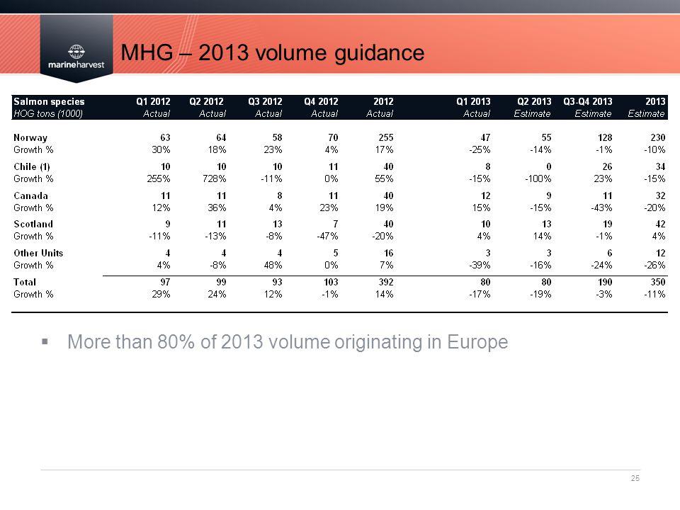 MHG – 2013 volume guidance 25  More than 80% of 2013 volume originating in Europe