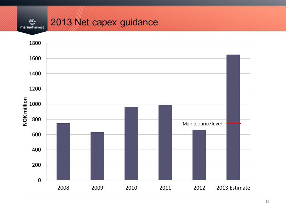 2013 Net capex guidance 33 Maintenance level