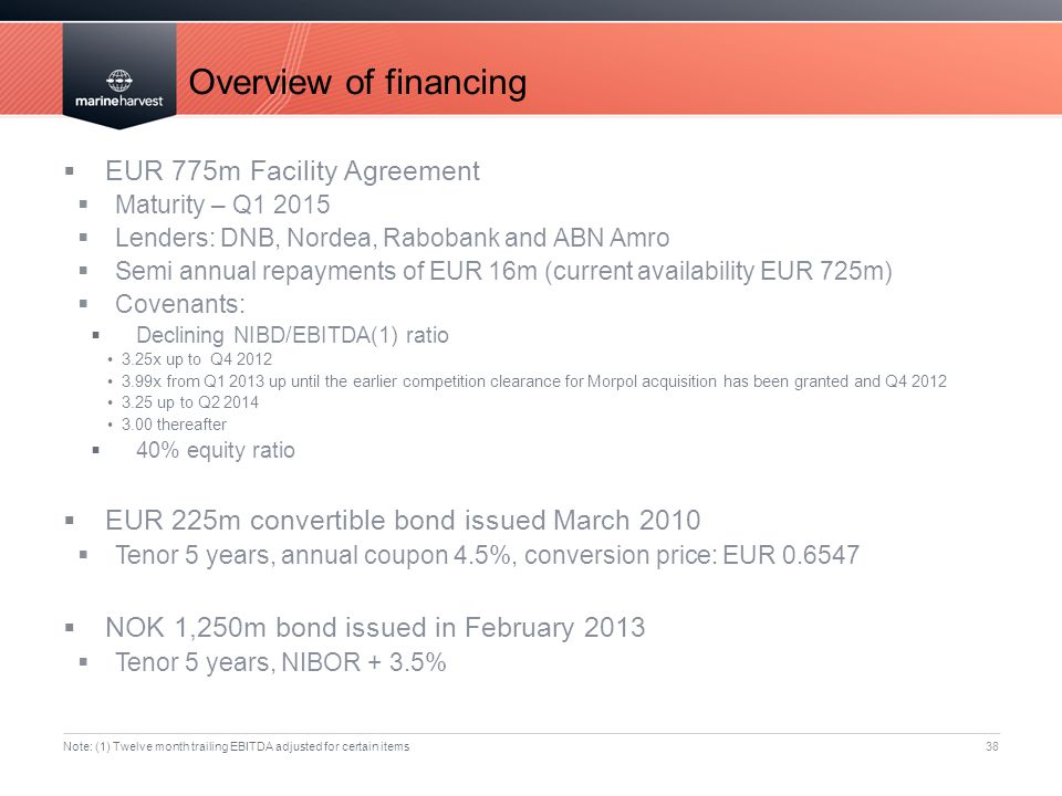 Overview of financing 38  EUR 775m Facility Agreement  Maturity – Q1 2015  Lenders: DNB, Nordea, Rabobank and ABN Amro  Semi annual repayments of EUR 16m (current availability EUR 725m)  Covenants:  Declining NIBD/EBITDA(1) ratio 3.25x up to Q4 2012 3.99x from Q1 2013 up until the earlier competition clearance for Morpol acquisition has been granted and Q4 2012 3.25 up to Q2 2014 3.00 thereafter  40% equity ratio  EUR 225m convertible bond issued March 2010  Tenor 5 years, annual coupon 4.5%, conversion price: EUR 0.6547  NOK 1,250m bond issued in February 2013  Tenor 5 years, NIBOR + 3.5% Note: (1) Twelve month trailing EBITDA adjusted for certain items