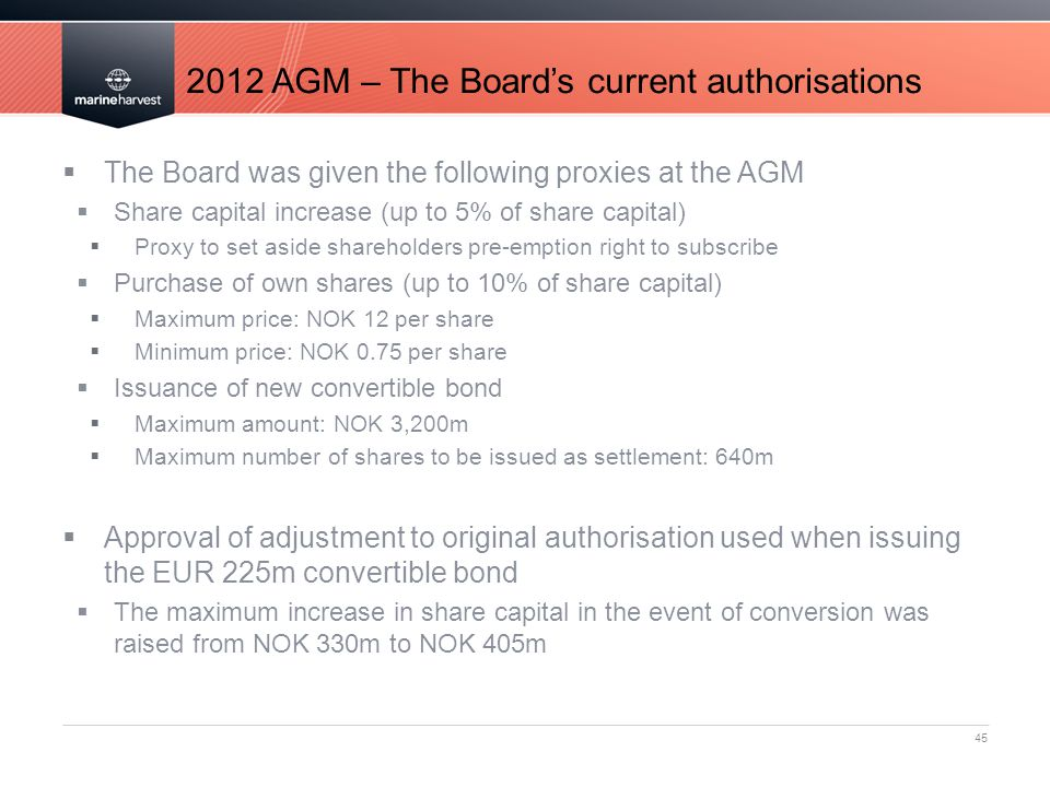 2012 AGM – The Board's current authorisations 45  The Board was given the following proxies at the AGM  Share capital increase (up to 5% of share capital)  Proxy to set aside shareholders pre-emption right to subscribe  Purchase of own shares (up to 10% of share capital)  Maximum price: NOK 12 per share  Minimum price: NOK 0.75 per share  Issuance of new convertible bond  Maximum amount: NOK 3,200m  Maximum number of shares to be issued as settlement: 640m  Approval of adjustment to original authorisation used when issuing the EUR 225m convertible bond  The maximum increase in share capital in the event of conversion was raised from NOK 330m to NOK 405m