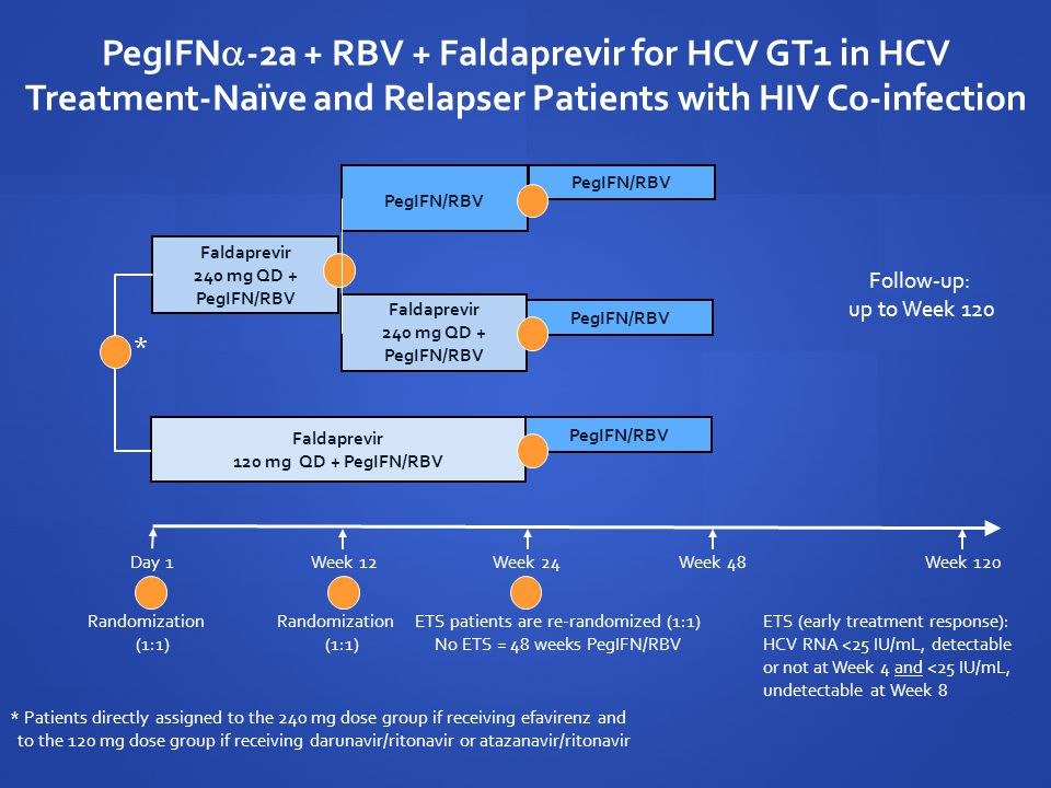 PegIFN  -2a + RBV + Faldaprevir for HCV GT1 in HCV Treatment-Naïve and Relapser Patients with HIV Co-infection Week 24Week 48Week 12 Faldaprevir 240 mg QD + PegIFN/RBV PegIFN/RBV Faldaprevir 240 mg QD + PegIFN/RBV Randomization (1:1) ETS patients are re-randomized (1:1) No ETS = 48 weeks PegIFN/RBV Week 120 Faldaprevir 120 mg QD + PegIFN/RBV PegIFN/RBV Day 1 Randomization (1:1) Follow-up: up to Week 120 ETS (early treatment response): HCV RNA <25 IU/mL, detectable or not at Week 4 and <25 IU/mL, undetectable at Week 8 * Patients directly assigned to the 240 mg dose group if receiving efavirenz and to the 120 mg dose group if receiving darunavir/ritonavir or atazanavir/ritonavir *