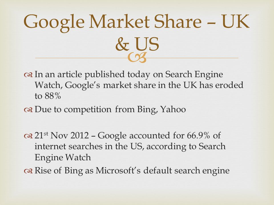   In an article published today on Search Engine Watch, Google's market share in the UK has eroded to 88%  Due to competition from Bing, Yahoo  21 st Nov 2012 – Google accounted for 66.9% of internet searches in the US, according to Search Engine Watch  Rise of Bing as Microsoft's default search engine Google Market Share – UK & US