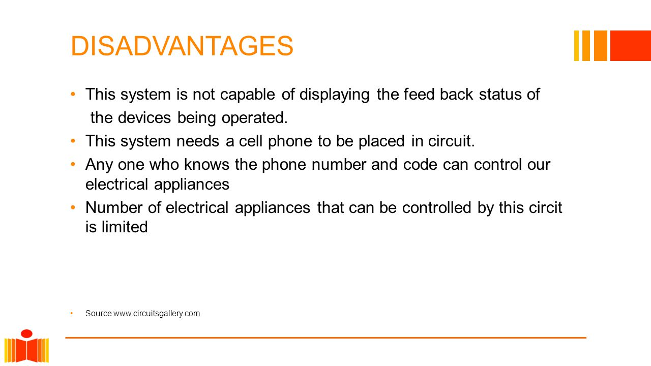 DISADVANTAGES This system is not capable of displaying the feed back status of the devices being operated.