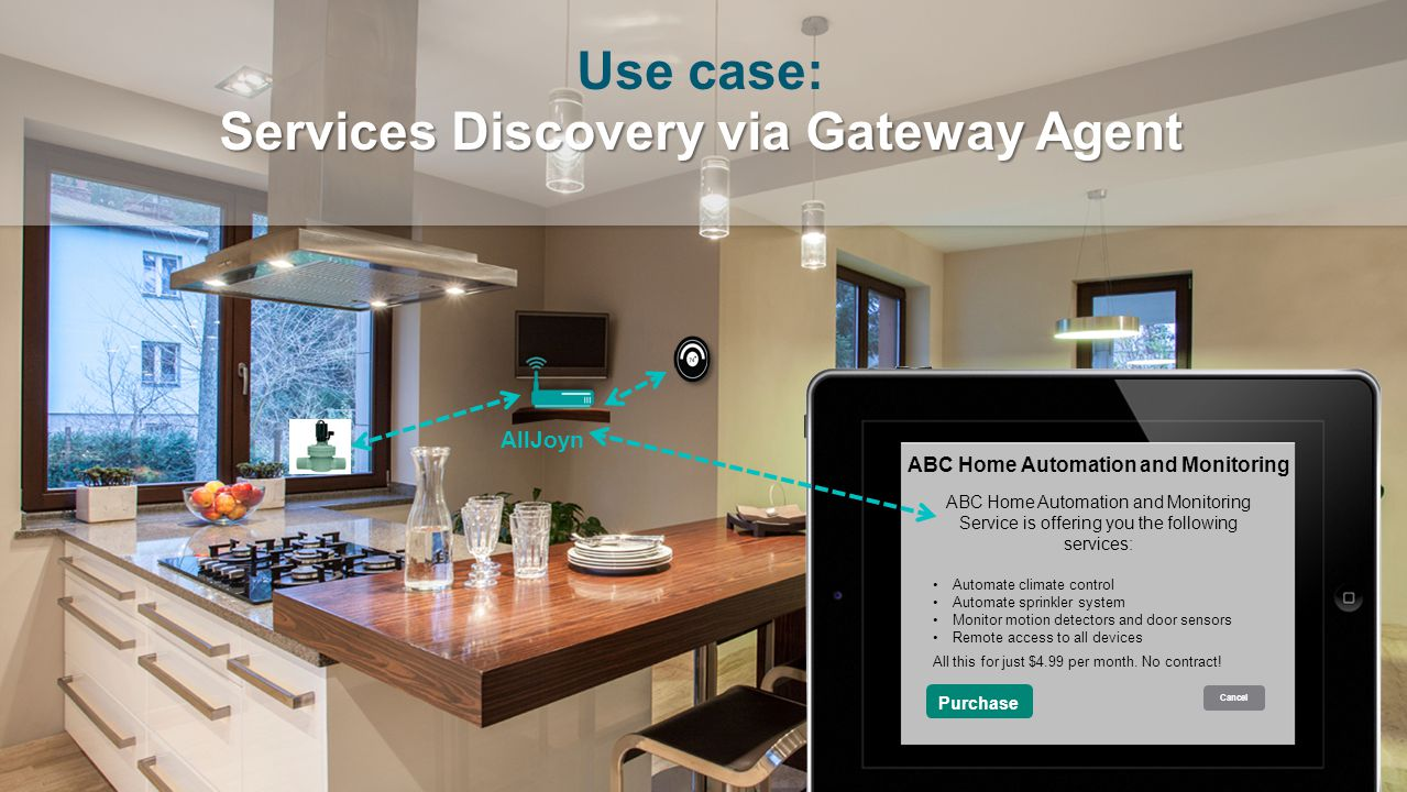 22 September 2014 AllSeen Alliance 9 Purchase Cancel ABC Home Automation and Monitoring Service is offering you the following services: Automate clima