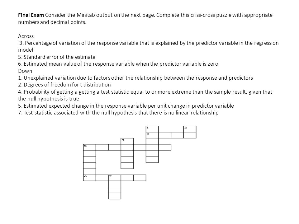 Final Exam Consider the Minitab output on the next page.