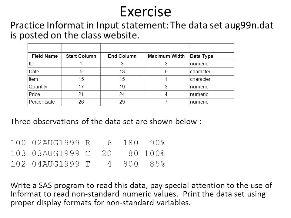 Exercise Practice Informat in Input statement: The data set aug99n.dat is posted on the class website.