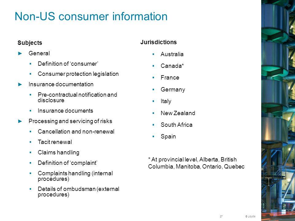 © Lloyd's US consumer information Consumer complaintsPosted: California, Florida, Illinois, Louisiana, Maryland, New Jersey, New York, North Carolina, South Carolina, Texas By y.e.