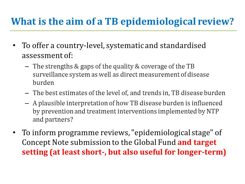 What is the aim of a TB epidemiological review.