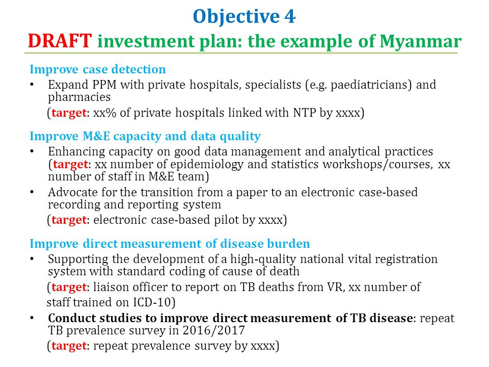 Objective 4 DRAFT investment plan: the example of Myanmar Improve case detection Expand PPM with private hospitals, specialists (e.g.
