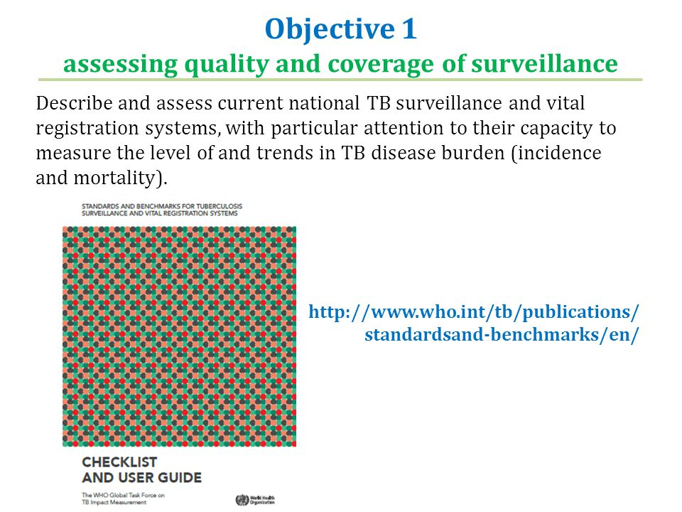 Objective 1 assessing quality and coverage of surveillance Describe and assess current national TB surveillance and vital registration systems, with p