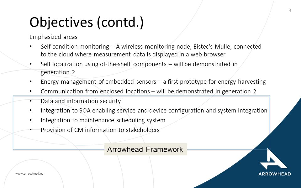 www.arrowhead.eu 4 Objectives (contd.) Emphasized areas Self condition monitoring – A wireless monitoring node, Eistec's Mulle, connected to the cloud