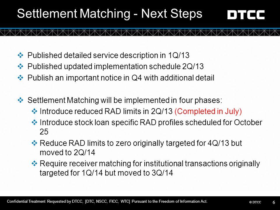 © DTCC Settlement Matching - Next Steps  Published detailed service description in 1Q/13  Published updated implementation schedule 2Q/13  Publish