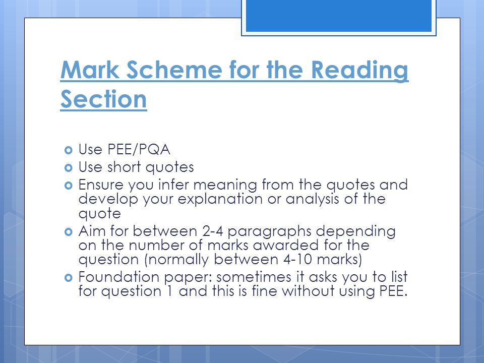 Tasks  They are normally very similar for both HIGHER and FOUNDATION  They are loosely linked to the extract that is used for Section A
