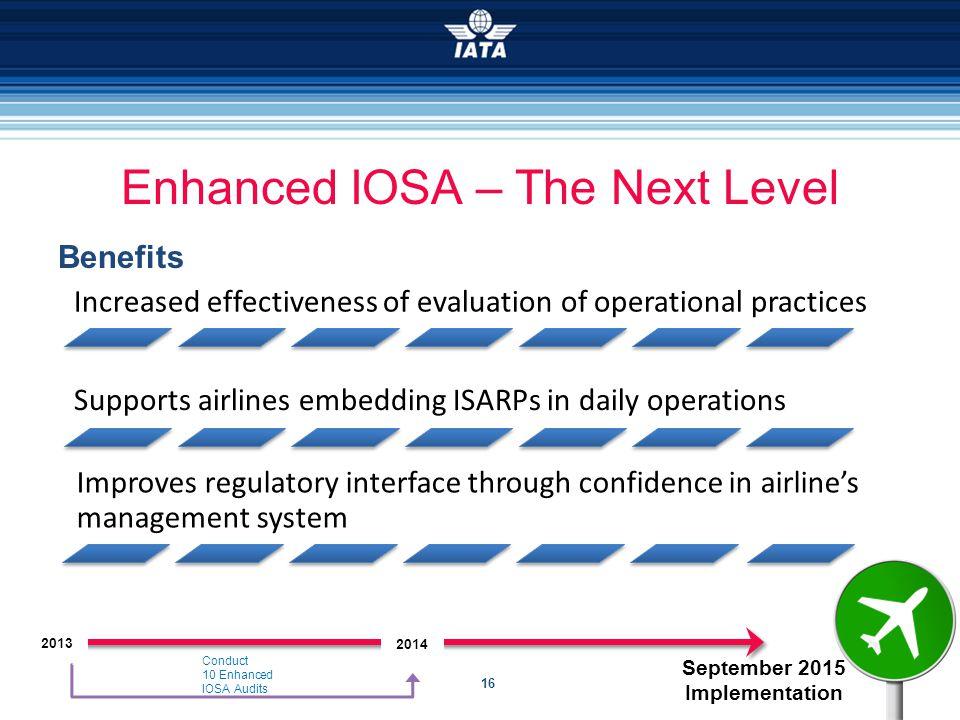 16 September 2015 Implementation Enhanced IOSA – The Next Level Benefits Conduct 10 Enhanced IOSA Audits 2014 2013