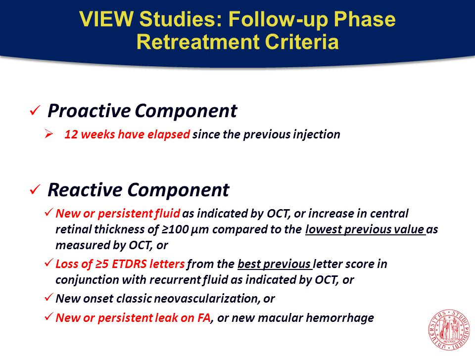 VIEW Studies: Follow-up Phase Retreatment Criteria Proactive Component  12 weeks have elapsed since the previous injection Reactive Component New or