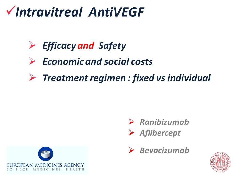Intravitreal AntiVEGF  Efficacy and Safety  Economic and social costs  Treatment regimen : fixed vs individual  Ranibizumab  Aflibercept  Bevaci