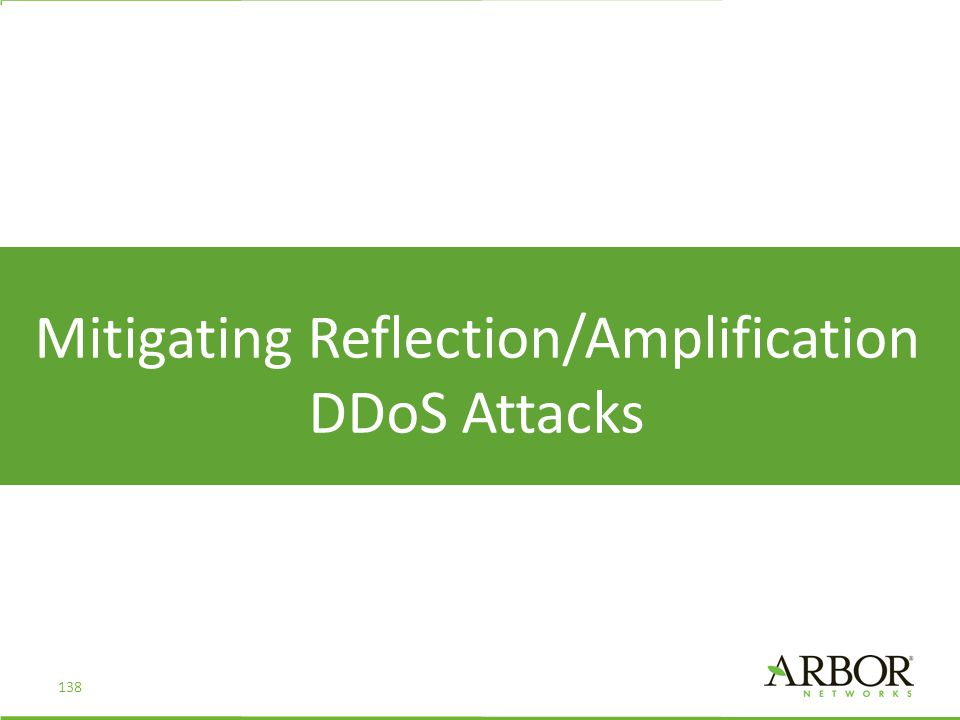 Mitigating Reflection/Amplification DDoS Attacks 138