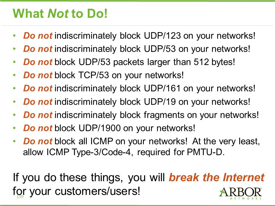 What Not to Do! Do not indiscriminately block UDP/123 on your networks! Do not indiscriminately block UDP/53 on your networks! Do not block UDP/53 pac