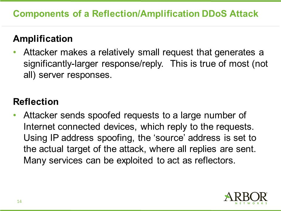 Components of a Reflection/Amplification DDoS Attack Amplification Attacker makes a relatively small request that generates a significantly-larger res