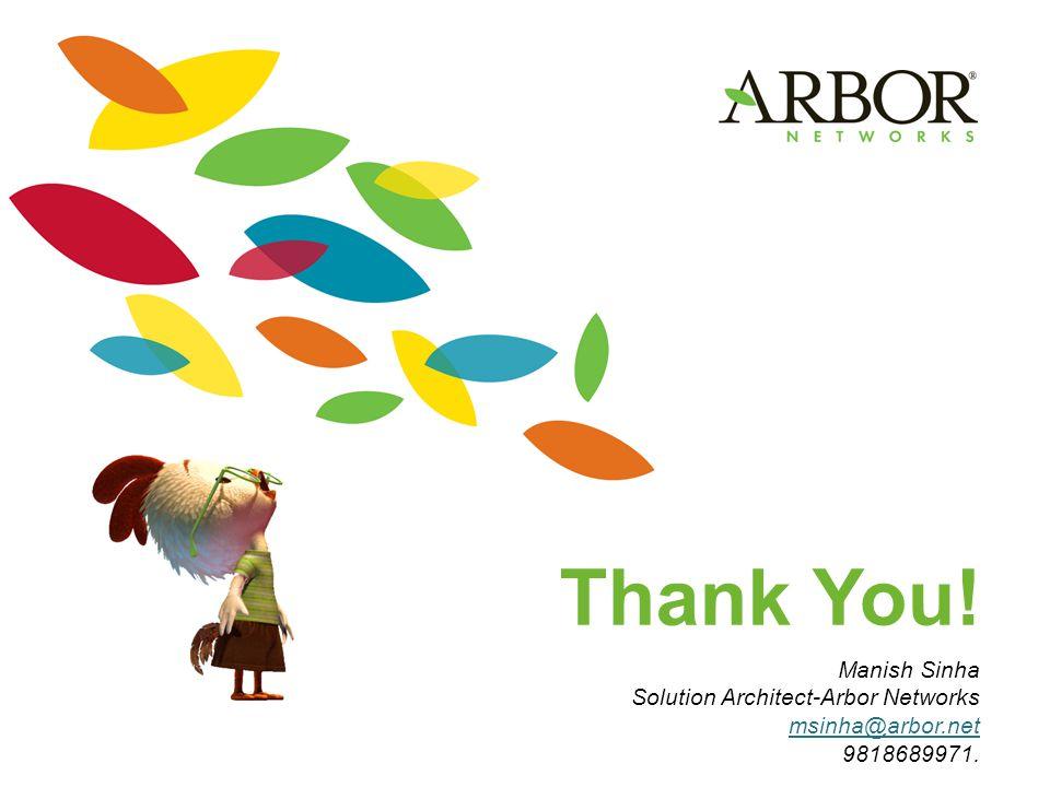Thank You! Manish Sinha Solution Architect-Arbor Networks msinha@arbor.net 9818689971.