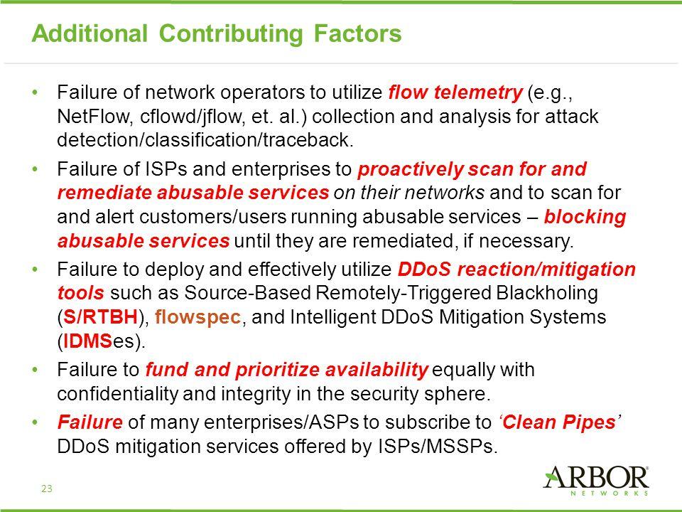 Additional Contributing Factors Failure of network operators to utilize flow telemetry (e.g., NetFlow, cflowd/jflow, et.