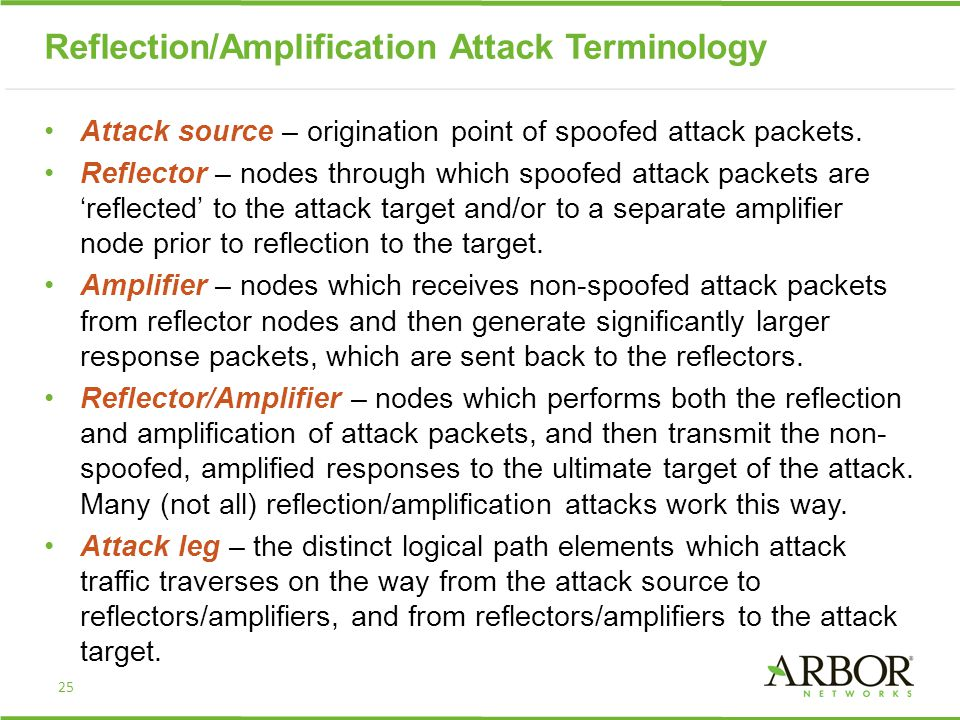 Reflection/Amplification Attack Terminology Attack source – origination point of spoofed attack packets. Reflector – nodes through which spoofed attac