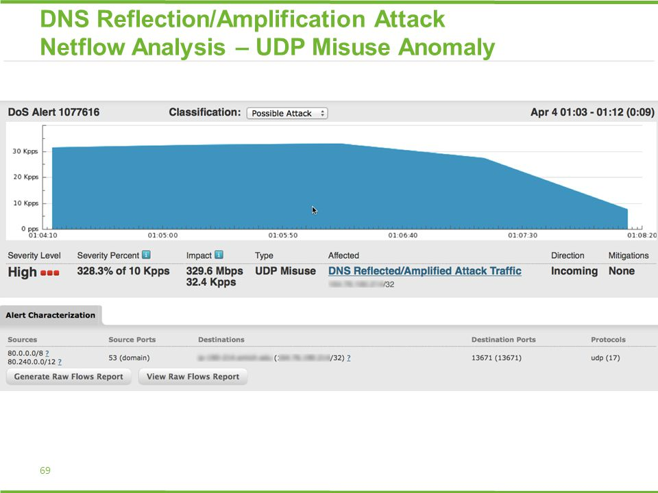 DNS Reflection/Amplification Attack Netflow Analysis – UDP Misuse Anomaly 69