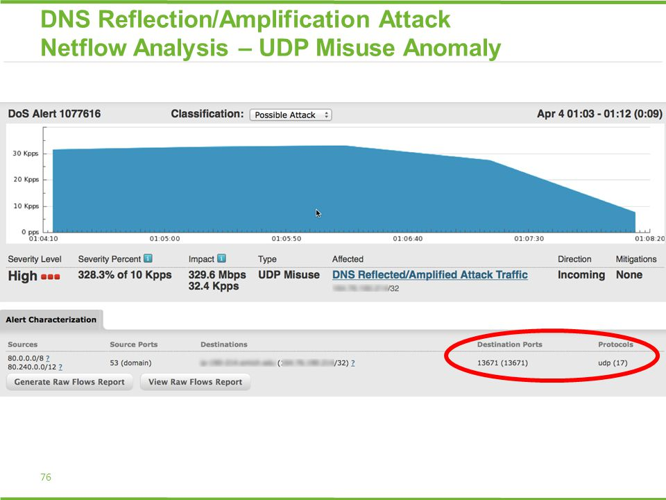 76 DNS Reflection/Amplification Attack Netflow Analysis – UDP Misuse Anomaly