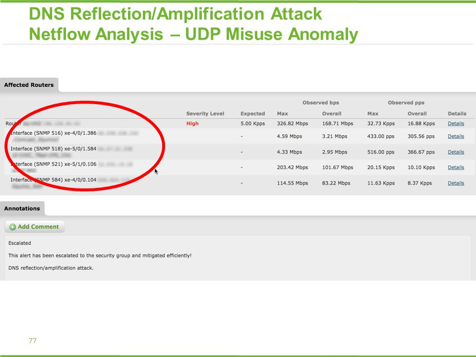 77 DNS Reflection/Amplification Attack Netflow Analysis – UDP Misuse Anomaly