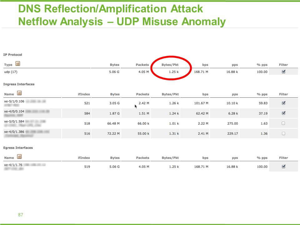87 DNS Reflection/Amplification Attack Netflow Analysis – UDP Misuse Anomaly