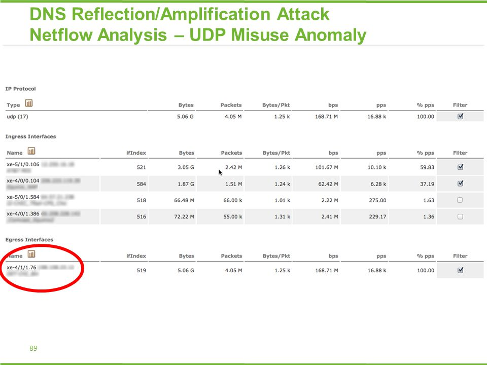 89 DNS Reflection/Amplification Attack Netflow Analysis – UDP Misuse Anomaly