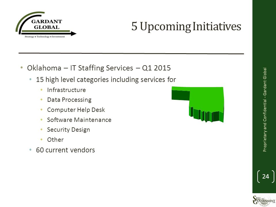 5 Upcoming Initiatives Oklahoma – IT Staffing Services – Q1 2015 15 high level categories including services for Infrastructure Data Processing Computer Help Desk Software Maintenance Security Design Other 60 current vendors Proprietary and Confidential - Gardant Global 24