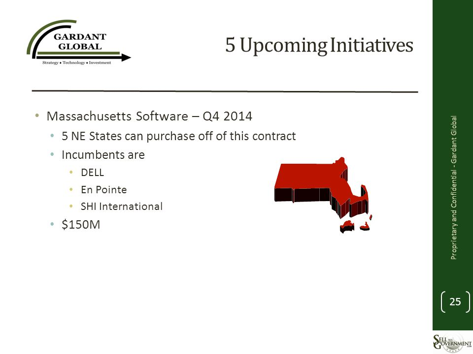 5 Upcoming Initiatives Massachusetts Software – Q4 2014 5 NE States can purchase off of this contract Incumbents are DELL En Pointe SHI International $150M Proprietary and Confidential - Gardant Global 25