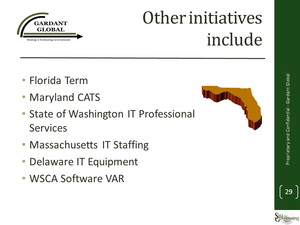 Other initiatives include Florida Term Maryland CATS State of Washington IT Professional Services Massachusetts IT Staffing Delaware IT Equipment WSCA Software VAR Proprietary and Confidential - Gardant Global 29