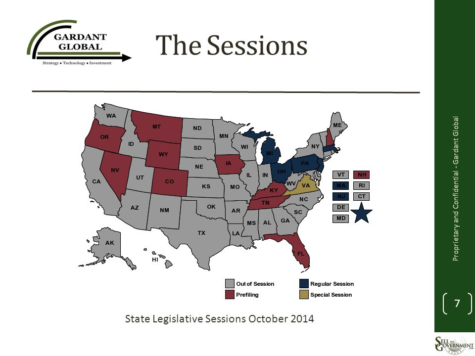 The Sessions Proprietary and Confidential - Gardant Global 7 State Legislative Sessions October 2014