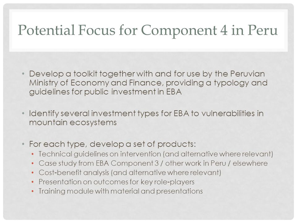 Potential Focus for Component 4 in Peru Develop a toolkit together with and for use by the Peruvian Ministry of Economy and Finance, providing a typol