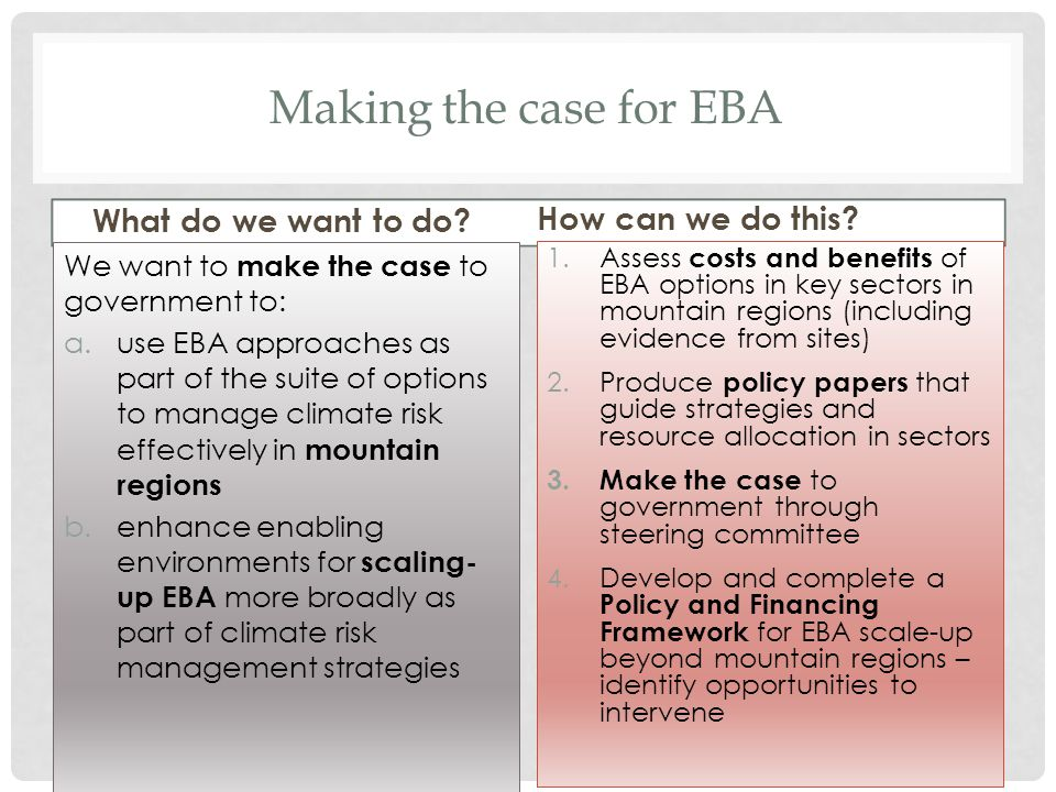 Making the case for EBA What do we want to do? We want to make the case to government to: a.use EBA approaches as part of the suite of options to mana